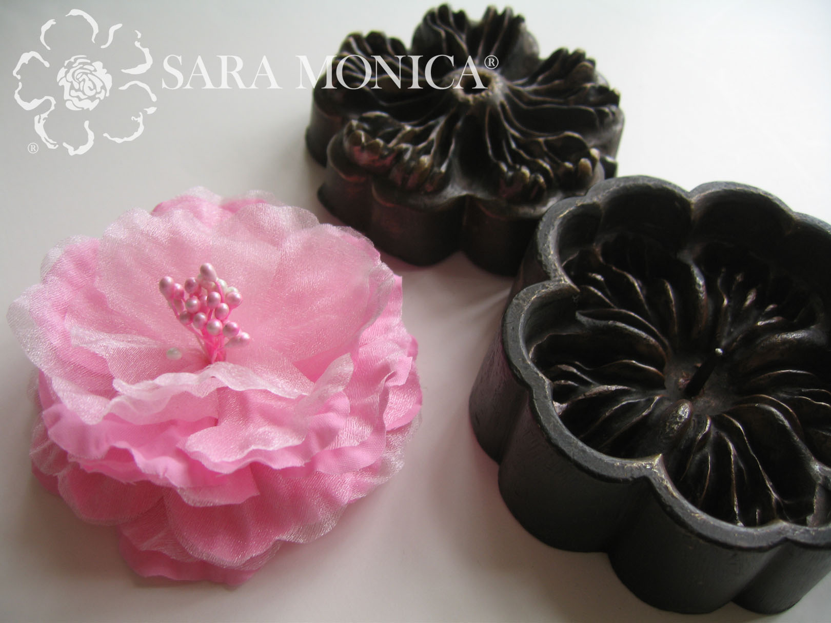 Sara Monica Flower Crafts Fabric Fashion Flowers Hair Clip And